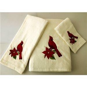 Serviette de bain de Noël en coton par Marina Decoration, rouge, ens. de 3