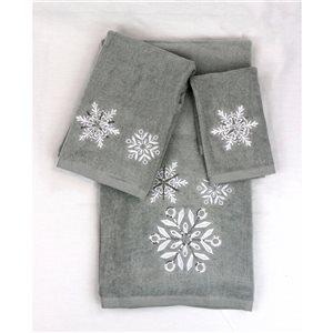 Serviette de bain de Noël en coton par Marina Decoration, gris, 3 mcx