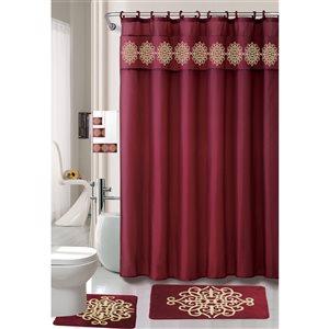 Ens. de tapis de baignoire en mousse viscoélastique/polyester par Nova Home Collection, 36 po x 24 po, bourgogne, 18 mcx