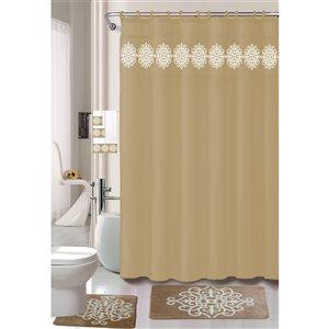 Ens. de tapis de baignoire en mousse viscoélastique/polyester par Nova Home Collection, 27,5 po x 17 po, taupe, 18 mcx