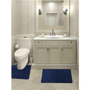 Ens. de tapis de baignoire en mousse viscoélastique/polyester par Nova Home Collection, 36 po x 24 po, bleu marine, 2 mcx