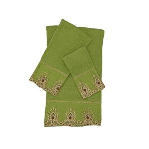 Serviette de bain en coton par Marina Decoration, vert, ens. de 3