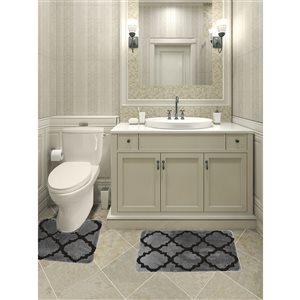 Ens. de tapis de baignoire en mousse viscoélastique/polyester par Nova Home Collection, 32 po x 20 po, argent, paquet de 2
