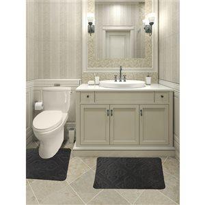 Ens. de tapis de baignoire en mousse viscoélastique/polyester par Nova Home Collection, 36 po x 24 po, gris, 2 mcx