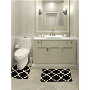 Ens. de tapis de baignoire en mousse viscoélastique/polyester par Nova Home Collection, 36 po x 24 po, noir, paquet de 2