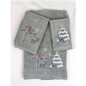 Serviette de bain de Noël en coton par Marina Decoration, argent, 3 mcx