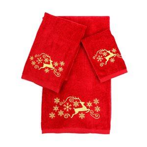 Serviette de bain de Noël en coton par Marina Decoration, rouge, 3 pièces