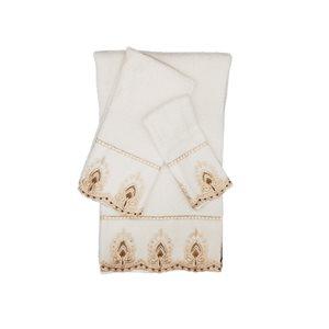 Serviette de bain en coton par Marina Decoration, blanc, 3 pièces