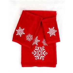 Serviette de bain de Noël avec flocon de neige en coton par Marina Decoration, rouge, 3 pièces