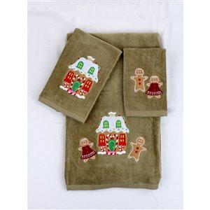 Serviette de bain de Noël en coton par Marina Decoration, brun, 3 mcx