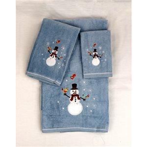 Serviette de bain de Noël en coton par Marina Decoration, bleu, 3 mcx