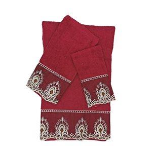 Serviette de bain en coton par Marina Decoration, rouge, 3 mcx