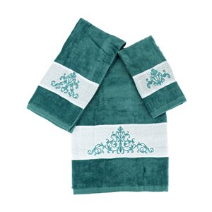 Serviette de bain en coton par Marina Decoration, turquoise, 3 mcx