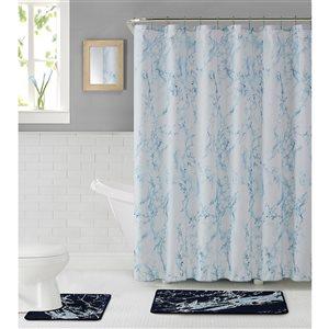 Ens. de tapis de baignoire en polyester par Nova Home Collection, 31 po x 20 po, bleu marine, 15 mcx