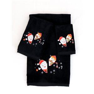 Serviette de bain de Noël en coton par Marina Decoration, noir, 3 mcx