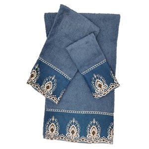 Serviette de bain en coton par Marina Decoration, bleu, ens. de 3