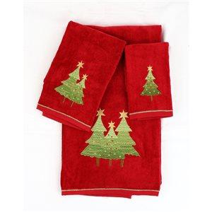 Serviette de bain de Noël en coton par Marina Decoration, rouge, ensemble de 3