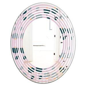 DesignArt 31.5-in x 23.7-in Retro Floral Pattern XIII - Oval Wall Mirror