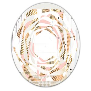 DesignArt 23.7-in x 31.6-in Gold And Rose Cubes I Modern Oval Wall Mirror