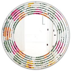 DesignArt 24-in x 24-in Retro tropical Leaves III - Round  Mirror