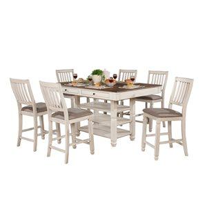 Ensemble de salle à manger blanc antique Nesbitt par HomeTrend avec table rectangulaire, 7pièces