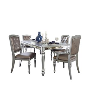 HomeTrend Orsina Silver Dining Room Set with Rectangular Table - 5-Piece