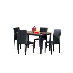 Ensemble de salle à manger noir TempeII par HomeTrend avec table rectangulaire, 5pièces