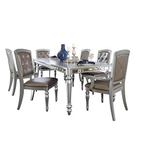 HomeTrend Orsina Silver Dining Room Set with Rectangular Table - 7-Piece