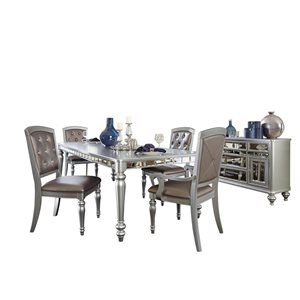 HomeTrend Orsina Silver Dining Room Set with Rectangular Table - 6-Piece