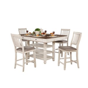 HomeTrend Nesbitt Antique White Dining Room Set with Rectangular Table - 5-Piece