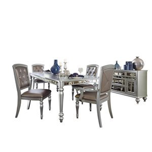 HomeTrend Orsina Silver Dining Room Set with Rectangular Table - 8-Piece