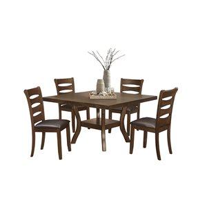 Ensemble de salle à manger brun Darla par HomeTrend avec table rectangulaire, 5pièces
