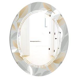 DesignArt Luxury Geometric Fall Leaves Pattern 31.5-in x 23.7-in Oval Grey Polished Mirror