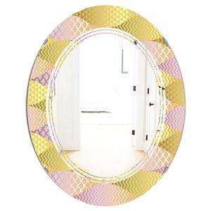 DesignArt Golden Geometrical Fish Scale 31.5-in x 23.7-in Oval Gold Mirror