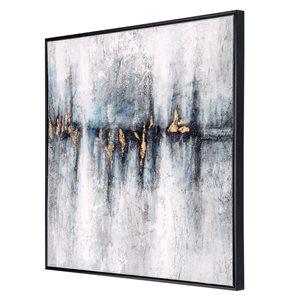 Toile peinte à la main Cobalt Haze par Gild Design House avec cadre en plastique noir, thème abstrait, 30po H x 30po L