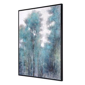Toile peinte à la main Fôret d'aigue-marine par Gild Design House avec cadre en plastique noir, 40po H x 30po L