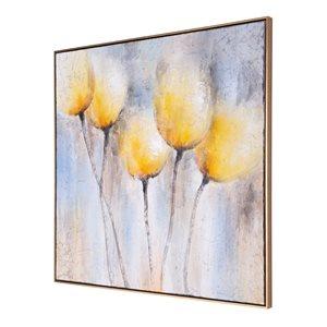 Toile peinte à la main Fleurs ensoleillées par Gild Design House avec cadre en plastique doré, 40po H x 40po L