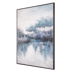Toile peinte à la main Banques indigo par Gild Design House avec cadre en plastique noir, thème de paysage, 48po H x 36po
