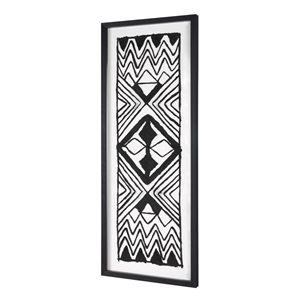 Boîte décorative peinte à la main Tribal moderne par Gild Design House avec cadre en plastique noir, 40po H x 16po L