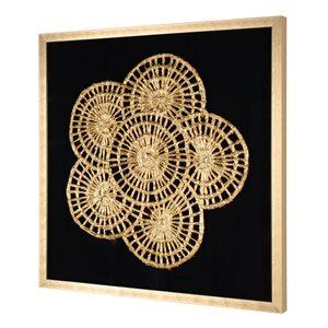 Boîte décorative peinte à la main Pétales opulents par Gild Design House avec cadre en plastique doré, 30po H x 30po L