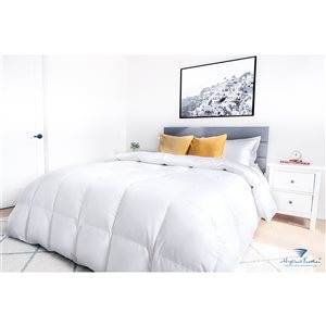 Highland Feather California King Cotton Comforter with Goose Down Fill - White