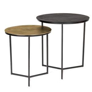 Ensemble de tables gigognes Warrick par Gild Design House en laiton antique et noir, lot de 2