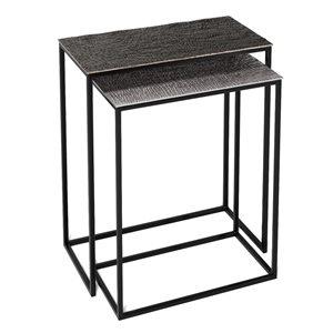 Ensemble de tables gigognes Oliver par Gild Design House en nickel gris, lot de 2