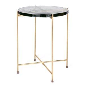 Table d'appoint Tahani par Gild Design House en verre rond et structure en laiton
