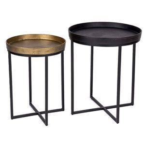Ensemble de tables gigognes Bristol par Gild Design House en laiton antique et noir, lot de 2