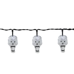 Northlight White Skull 10-Count 4.75-ft Constant LED Electrical Outlet Halloween String Lights