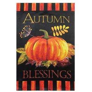 Northlight Autumn Blessings and Pumpkin Outdoor Garden Flag