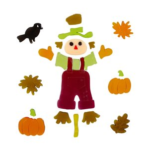 Northlight Scarecrow and Pumpkins Thanksgiving Plastic Window Cling