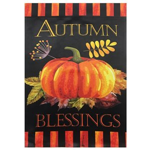 Northlight 12.5-in x 18-in Autumn Blessings and Pumpkins Outdoor Garden Flag