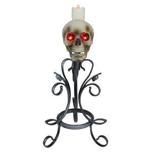 Northlight White Gothic Flameless Skull Halloween Candle Holder
